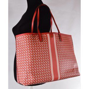 Tory Burch Coated Canvas Large T ZAG Tote Bag